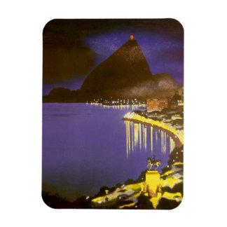 Vintages Rio de Janeiro, Brasilien nachts Magnet