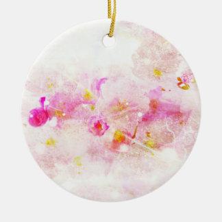 Vintages Romanze abstraktes der Kirschblüte - Weiß Rundes Keramik Ornament