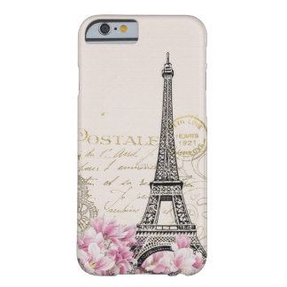 Vintages rosa Blumen, hina Muster-Eiffel-Turm Barely There iPhone 6 Hülle