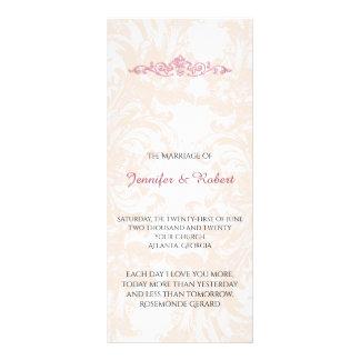 Vintages rosa Pfingstrosen-Hochzeits-Programm Werbekarte