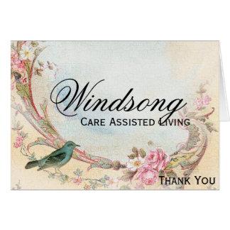 Vintages rosa Rosen-und Robin-Hochzeits-Geschäft Mitteilungskarte