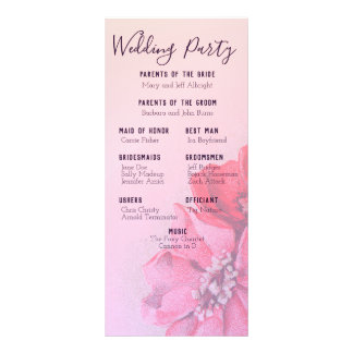 Vintages Rosen-Hochzeits-Programm Werbekarte