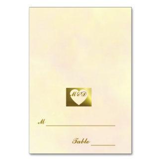 Vintages Sammlungs-Gelb der Hochzeits-Platzkarte- 