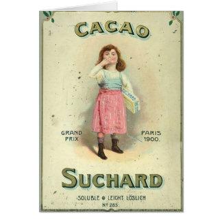 Vintages Schokoladen-Kuss-Mädchen von Frankreich Grußkarte