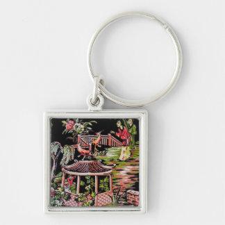 Vintages schwarzes Chinoiserie-Gewebe Keychain Schlüsselanhänger
