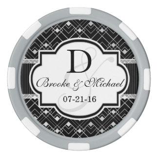 Vintages schwarzes u. silbernes Kunst-Deko Wedding Poker Chip Set