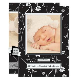 Vintages Schwarzes u. Weiß - Geburts-Mitteilung Karte