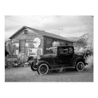 Vintages Schwarzweiss-Auto Postkarte