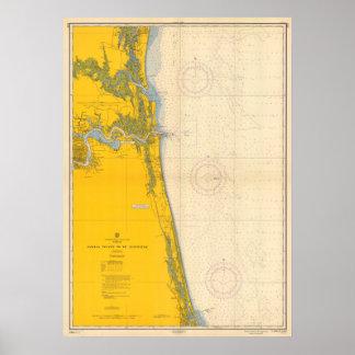 Vintages Seediagramm Amelia Island St Augustine Poster