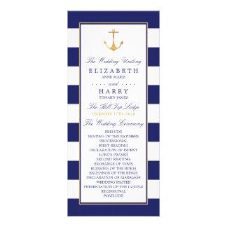 Vintages Seegoldanker-Hochzeits-Programm Werbekarte