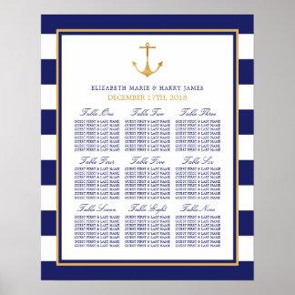 Vintages Seegoldanker-Hochzeits-Sitzplatz-Diagramm Poster