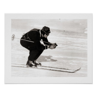 Vintages Ski iamge, abwärts gleiten Poster