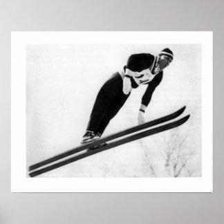 Vintages Ski iamge, Keep Springen Poster