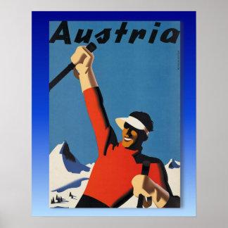 Vintages Ski-Plakat, Ski Österreich Poster