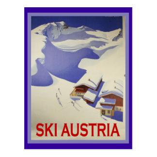 Vintages Ski-Plakat, Ski Österreich Postkarte