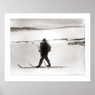Vintages Skibild, nordische Art Poster