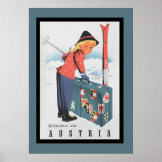 Vintages Skifahren in Österreich-Plakat Poster