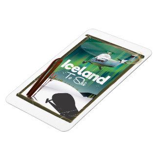Vintages Skiplakat Islands Magnet