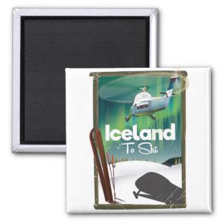 Vintages Skiplakat Islands Quadratischer Magnet