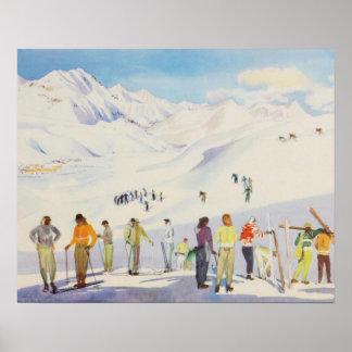 Vintages Skiplakat,    Skiers auf dem Berg Poster