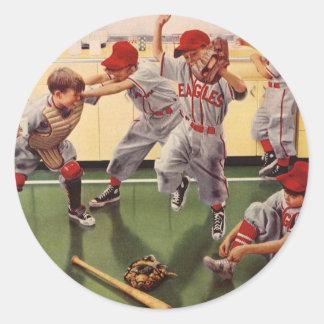 Vintages Sport-Baseballteam, Jungen in einem Runder Aufkleber