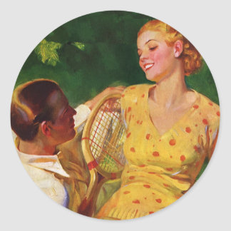 Vintages Sport Tennis, Liebe und Romance Runder Sticker