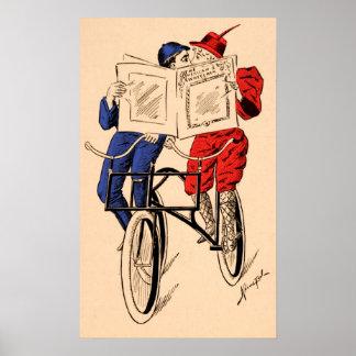Vintages Tandemfahrrad-Paar-Leseküssen Poster