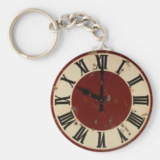 Vintages Taschen-Uhr-Uhr-Gesichts-schäbiges Standard Runder Schlüsselanhänger