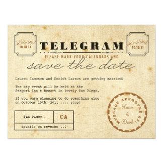 Vintages Telegramm Save the Date Einladungskarten