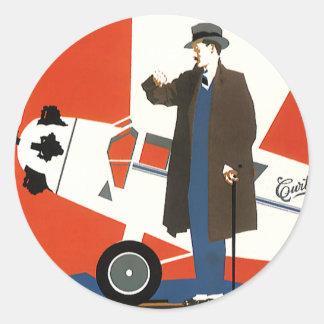 Vintages Transport-, Mann-und Propeller-Flugzeug Runder Sticker