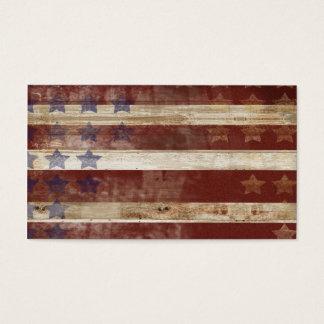 Vintages US Flagge-Kiefernholz-Muster Visitenkarten