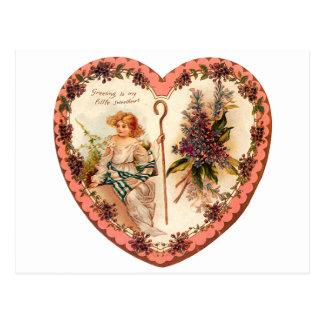 Vintages Valentine-Herz mit lila Blumen Postkarte