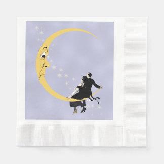 Vintages verärgertes sichelförmiges Mond-Gesicht Papierserviette