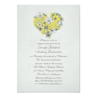 Vintages Verlobungs-Party des gelben Blumenherzens 12,7 X 17,8 Cm Einladungskarte