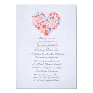 Vintages Verlobungs-Party des korallenroten 12,7 X 17,8 Cm Einladungskarte