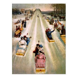 Vintages viktorianisches Sledding Postkarte