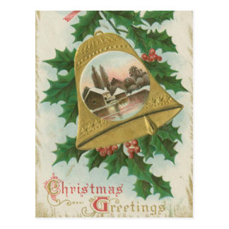 Vintages Weihnachten Bell und Stadt Postkarte