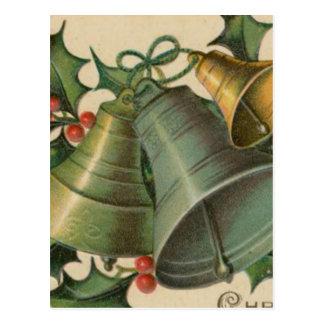 Vintages Weihnachten Bell und Stechpalme Postkarte