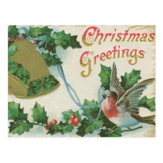 Vintages Weihnachten Bell und Vogel Postkarte