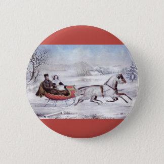 Vintages Weihnachten, der Straßen-Winter, Runder Button 5,7 Cm