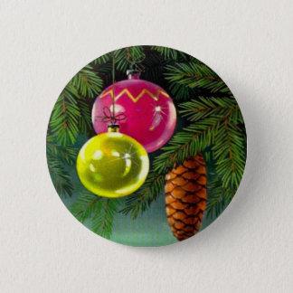 Vintages Weihnachten, Flitter und Kiefern-Kegel Runder Button 5,7 Cm