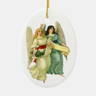 Vintages Weihnachten, himmlische viktorianische Ovales Keramik Ornament