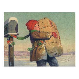 Vintages Weihnachten, Kind mit großem Paket Postkarte