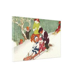 Vintages Weihnachten, Kinder, die im Schnee Leinwanddruck