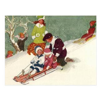 Vintages Weihnachten, Kinder, die im Schnee Postkarte