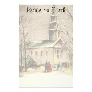 Vintages Weihnachten, Kirche im Winter Snowscape Briefpapier