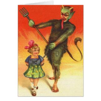 Vintages Weihnachten Krampus Grußkarte