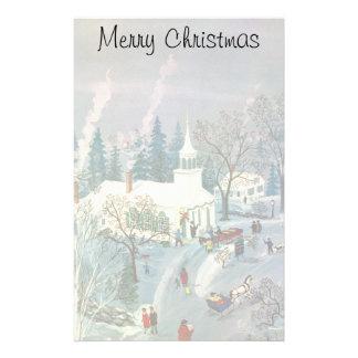 Vintages Weihnachten, Leute, die zur Kirche im Briefpapier