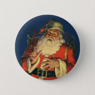 Vintages Weihnachten, lustiger Weihnachtsmann mit Runder Button 5,7 Cm