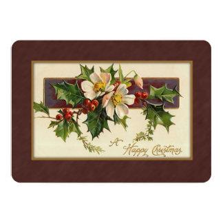 Vintages Weihnachten mit Blumen 12,7 X 17,8 Cm Einladungskarte